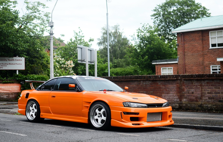 Photo wallpaper Silvia, Nissan, orange, S14
