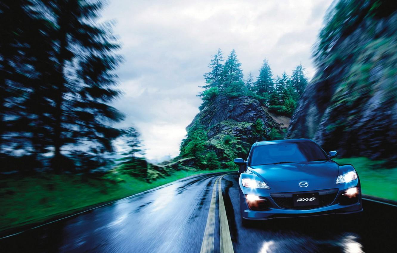 Photo wallpaper road, rocks, speed, Auto, Mazda RX 8