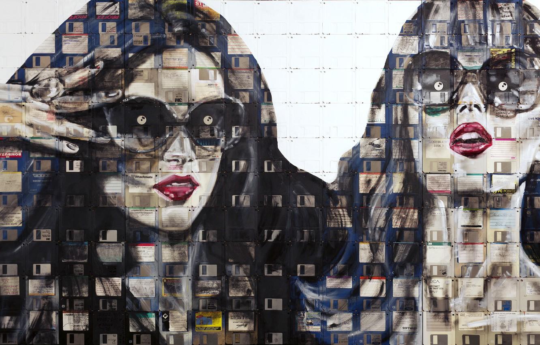 Photo wallpaper eyes, look, style, emotions, girls, paint, portrait, art, glasses, floppy, floppy art, Nick Gentry, Nick …
