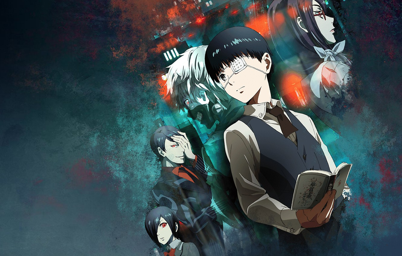 Photo wallpaper anime, Tokyo Ghoul, Ken Kanek, Tokyo Ghoul, Kirishima Bring, Tsukiyama Shuu, Kamishiro Rize