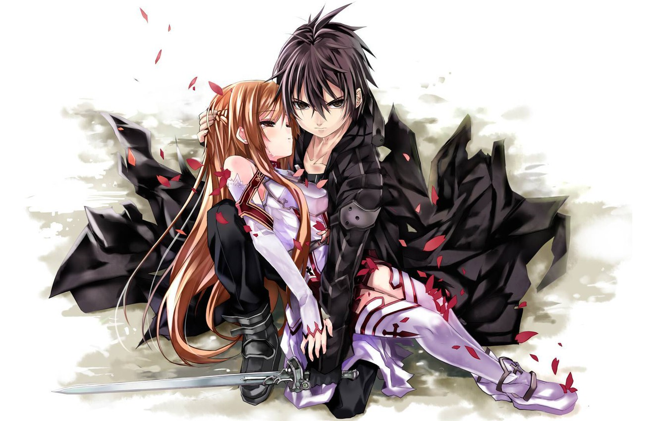 Photo wallpaper weapons, anime, art, pair, two, Sword Art Online, master of the sword