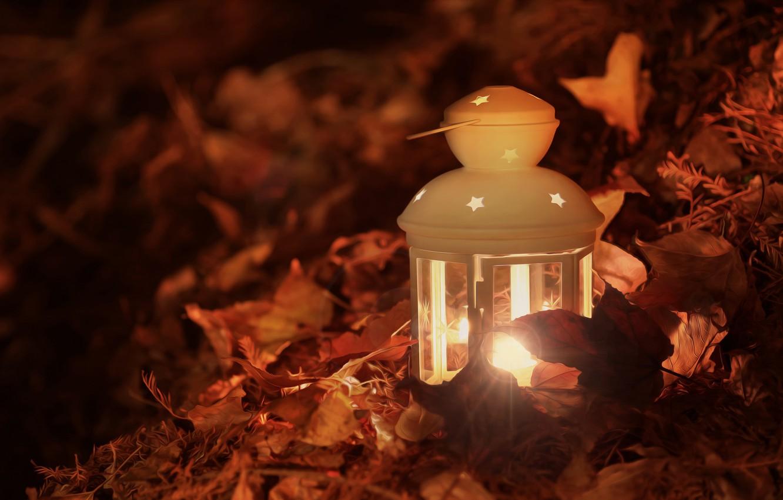 Photo wallpaper autumn, leaves, light, lamp