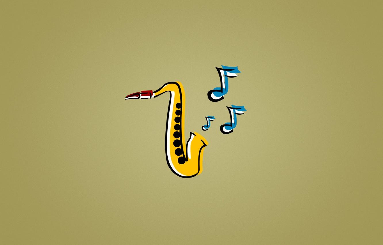 Photo wallpaper blue, yellow, notes, music, jazz, Saxophone, jazz,