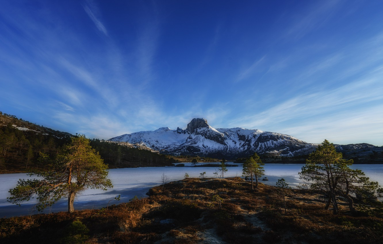 Photo wallpaper the sky, snow, trees, mountains, river