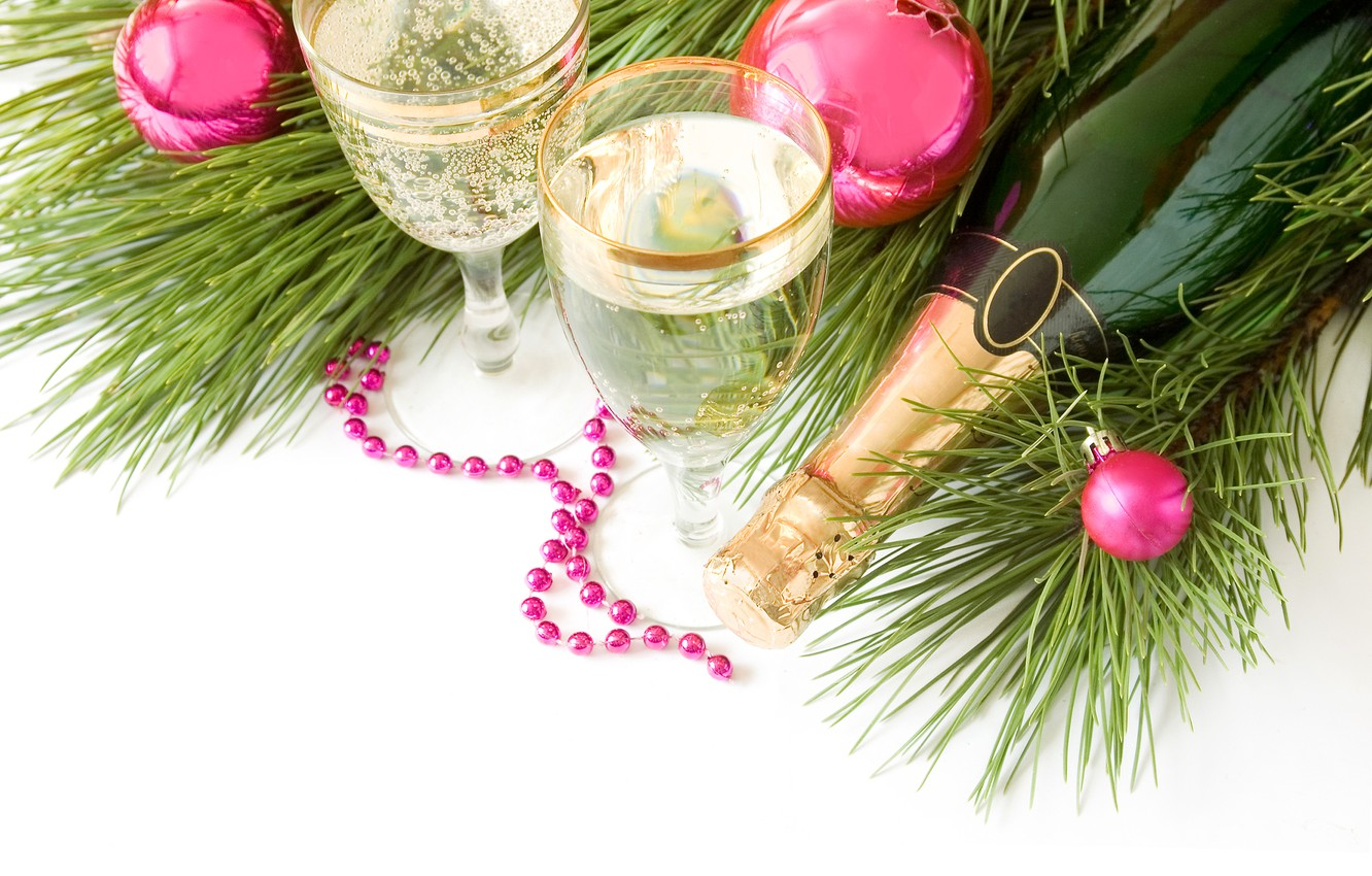 Photo wallpaper glasses, tree, drink, champagne, Christmas decorations