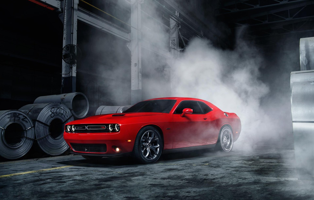 Photo wallpaper Muscle, Dodge, Challenger, Red, Car, Front, Smoke, American, Ligth