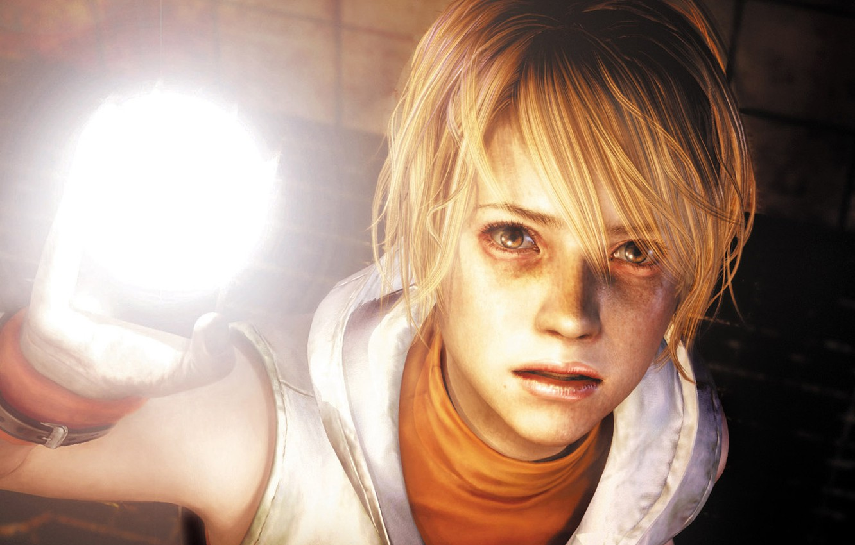 Photo wallpaper look, girl, light, face, blonde, lantern, Horror, Heather Mason, Silent Hill 3, KONAMI