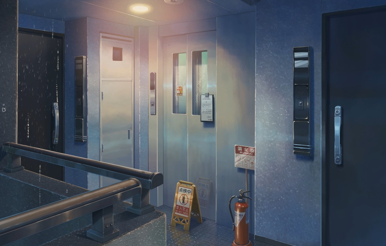 Photo wallpaper Anime, Door, Lift, Makoto Xingkai, Anime, Wallpaper, Room, The room, The Wallpapers, Doors, The Garden …