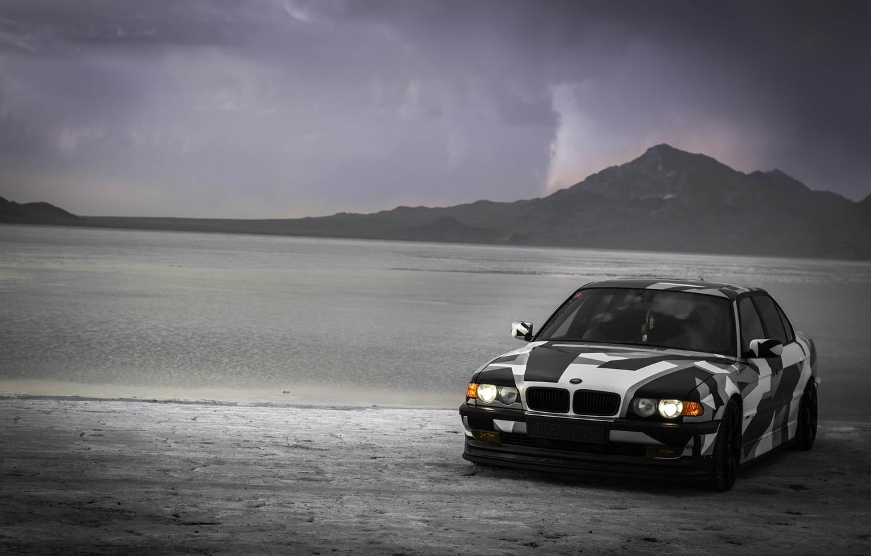 Photo wallpaper BMW, Tuning, BMW, Alpina, E38, 740il, arctic camo, camo, wnter