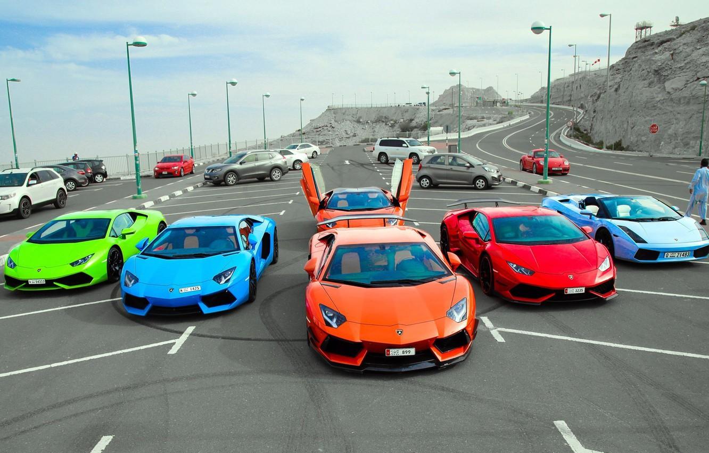 Photo wallpaper Lamborghini, Parking, Gallardo, supercars, Aventador, Huracan