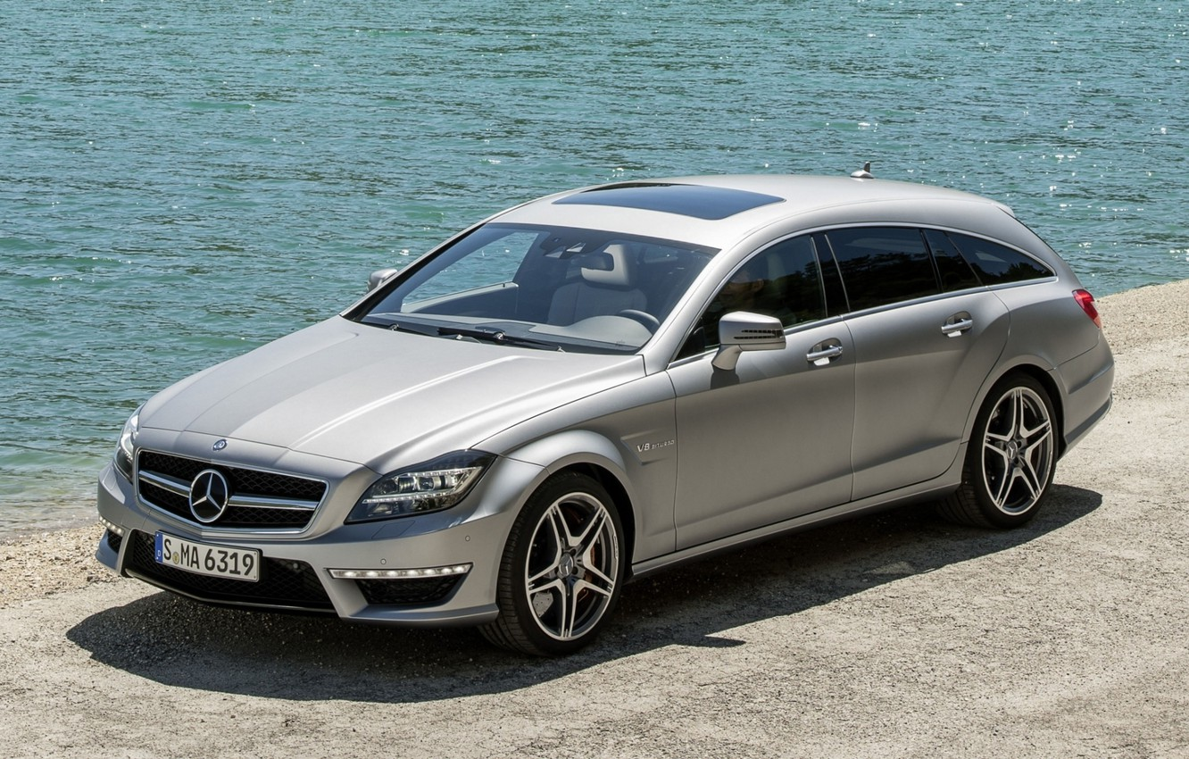 Photo wallpaper water, shore, Mercedes-Benz, CLS, silver, AMG, the front, universal, AMG, Shooting Brake, Mercedes.Tsls
