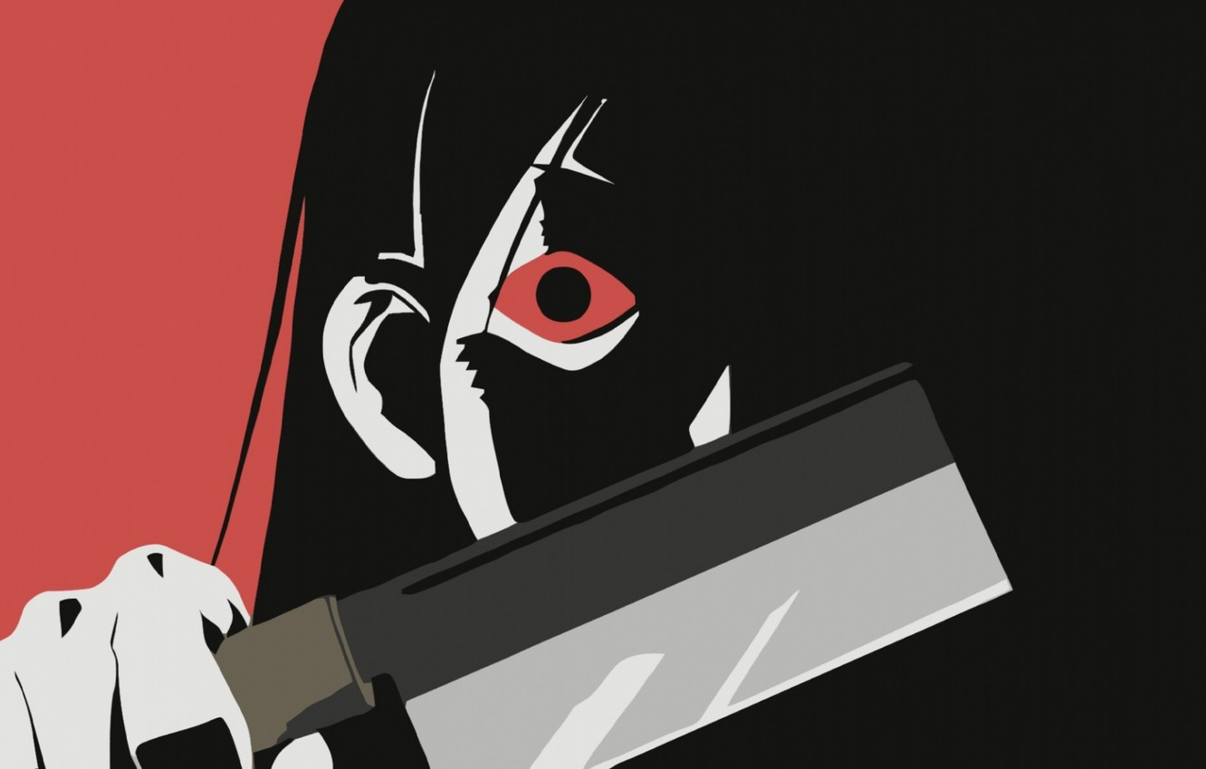 Photo wallpaper face, hand, blade, red eyes, madness, cleaver, Sayonara Zetsubou Sensei, Hideyuki Morioka, Farewell bleak Sensei