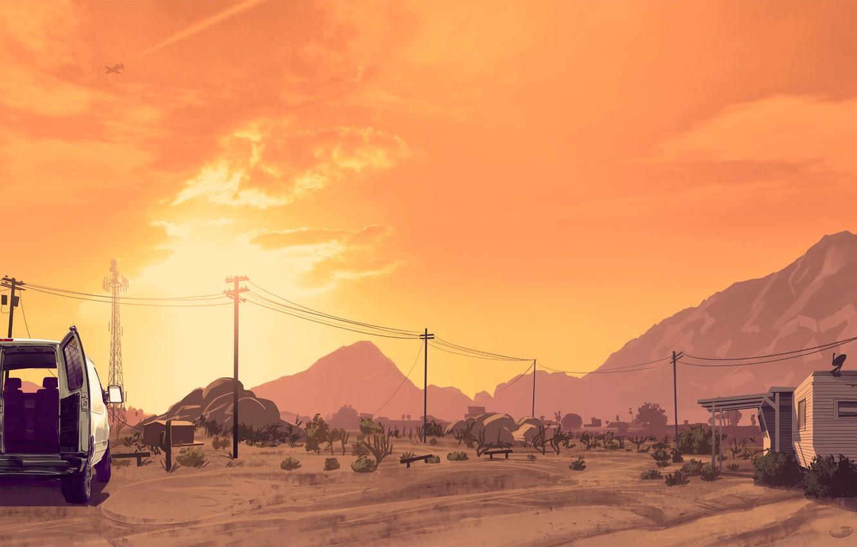 Photo wallpaper the sky, clouds, sunset, mountains, the plane, desert, antenna, art, van, house, art, GTA, power …