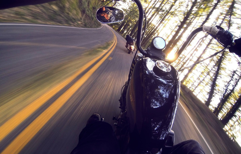 Photo wallpaper road, motorcycles, drive, speed, ILO