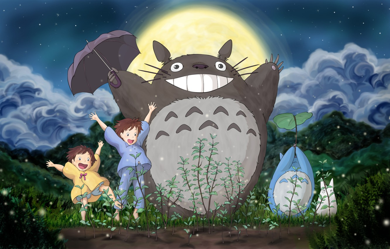 Photo wallpaper forest, the sky, grass, clouds, the moon, Totoro, Hayao Miyazaki, Satsuki, Mei, My neighbor Totoro, …
