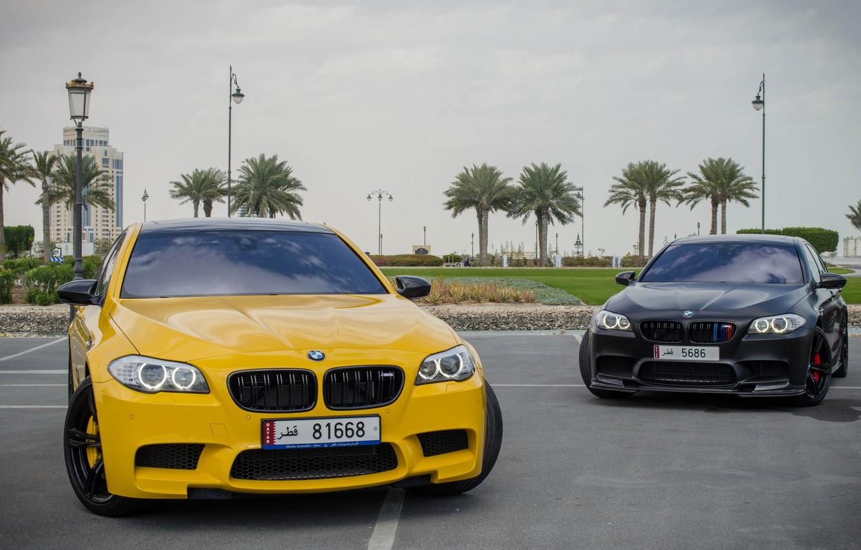 Photo wallpaper yellow, bmw, BMW, yellow, f10, matte black, matte black, running lights