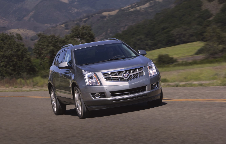 Photo wallpaper Cadillac, Auto, Road, Machine, Grey, Day, SUV, In Motion, SRX