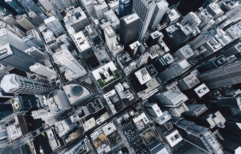 Photo wallpaper City, Clouds, Chicago, Landscape, View, Fog, Architecture, Top