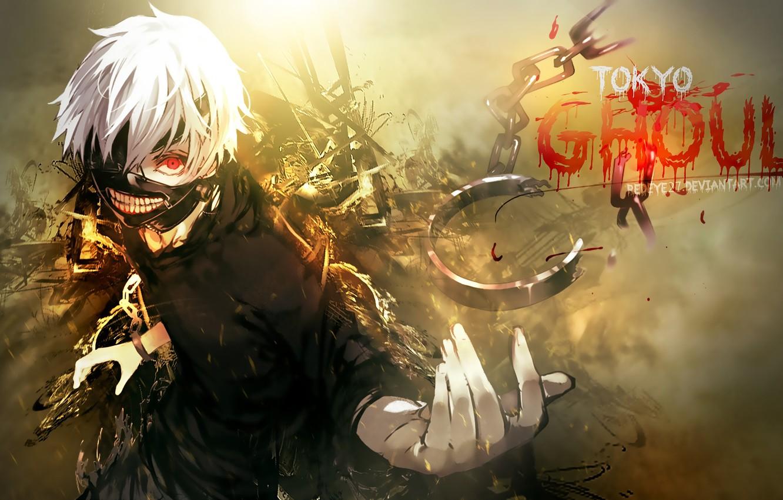 Photo wallpaper look, anime, mask, chain, white hair, anime, red eye, Tokyo Ghoul, Ken Kanek, Tokyo Ghoul, …