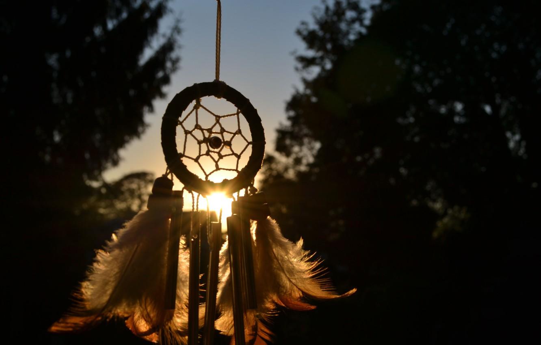 Photo wallpaper the sun, feathers, talisman, amulet, Dreamcatcher, Dreamcatcher