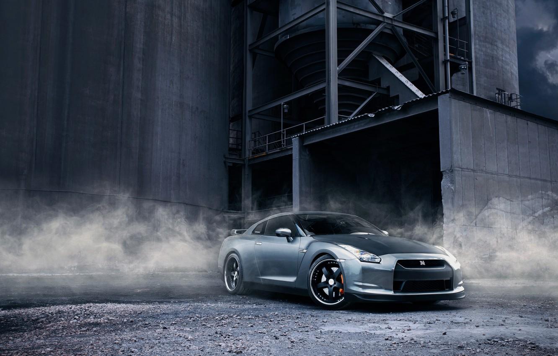 Photo wallpaper plant, smoke, dust, Nissan, gravel, R35 GTR