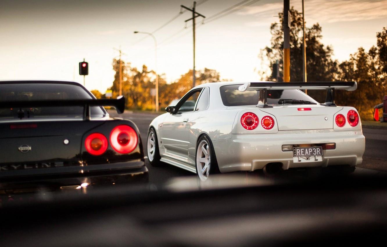 Photo wallpaper Nissan, Nissan, GT-R, Racing, Skyline, 2002, R34, Skyline, GT-R, JDM, BNR34, Р34, People, V-spec, Rays, …
