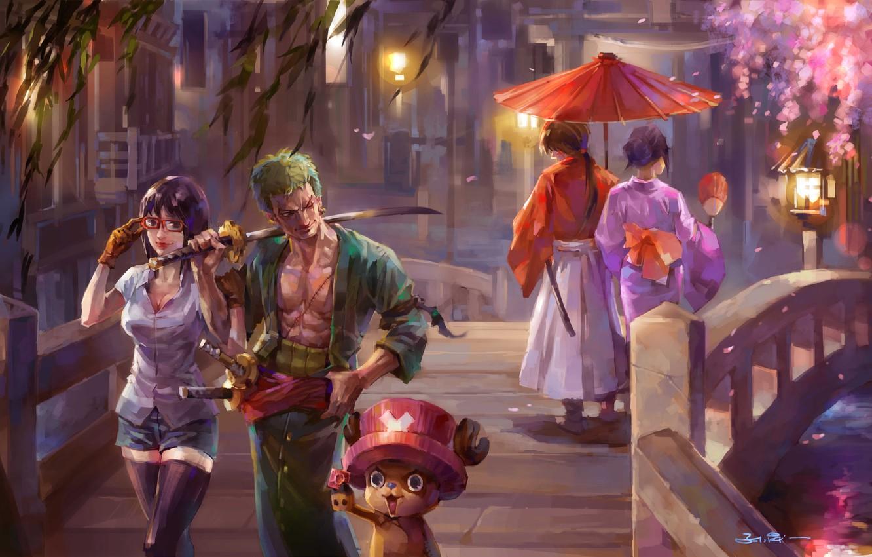 Photo wallpaper girl, bridge, the city, katana, umbrella, Sakura, art, guy, walk