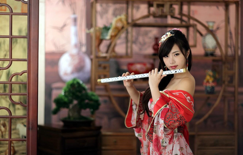 Photo wallpaper girl, music, tool