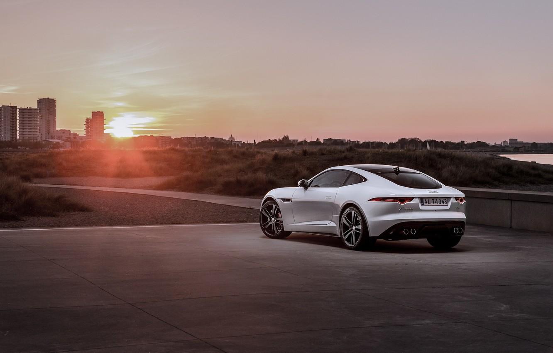 Photo wallpaper Jaguar, Car, Coupe, Sunset, White, Sport, Rear, F-Type R