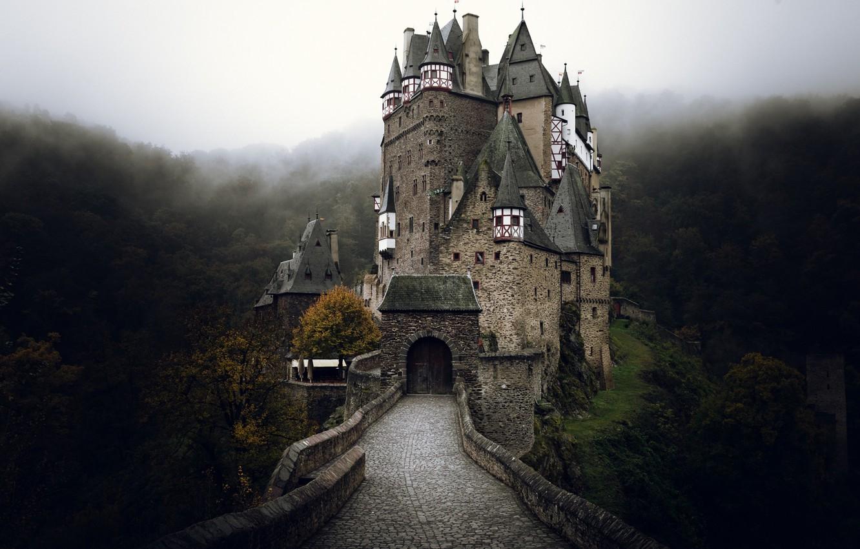 Photo wallpaper autumn, fog, castle, Germany, ELTZ