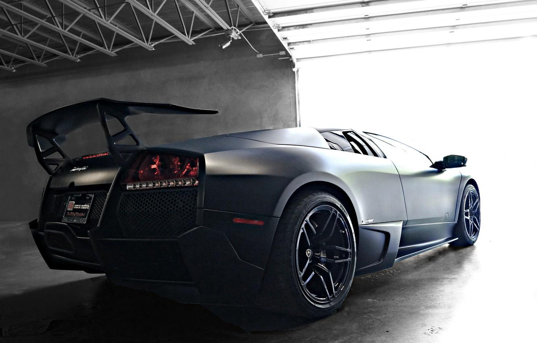 Photo wallpaper black, Boxing, lamborghini, black, rear view, murcielago, Lamborghini, wing, Murcielago, lp670-4 sv