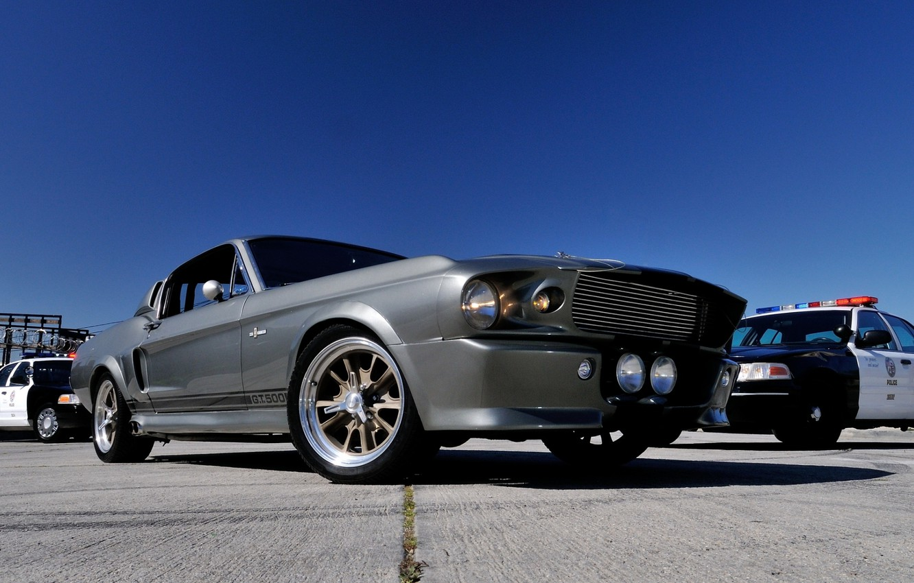 Photo wallpaper the sky, Mustang, Ford, GT500, police, Ford, Mustang, Eleanor, the front, Muscle car, Muscle car, ...