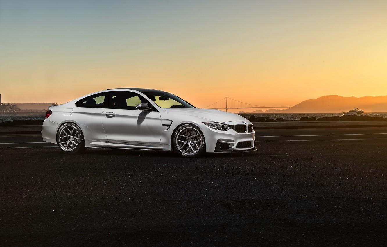Photo wallpaper BMW, Car, Front, Sunset, White, Sport, Collection, Aristo, F82