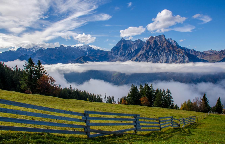 Photo wallpaper clouds, mountains, the fence, Switzerland, Alps, meadow, Switzerland, Alps, Uri-Rotstock, Uri Alps, Brunnistock