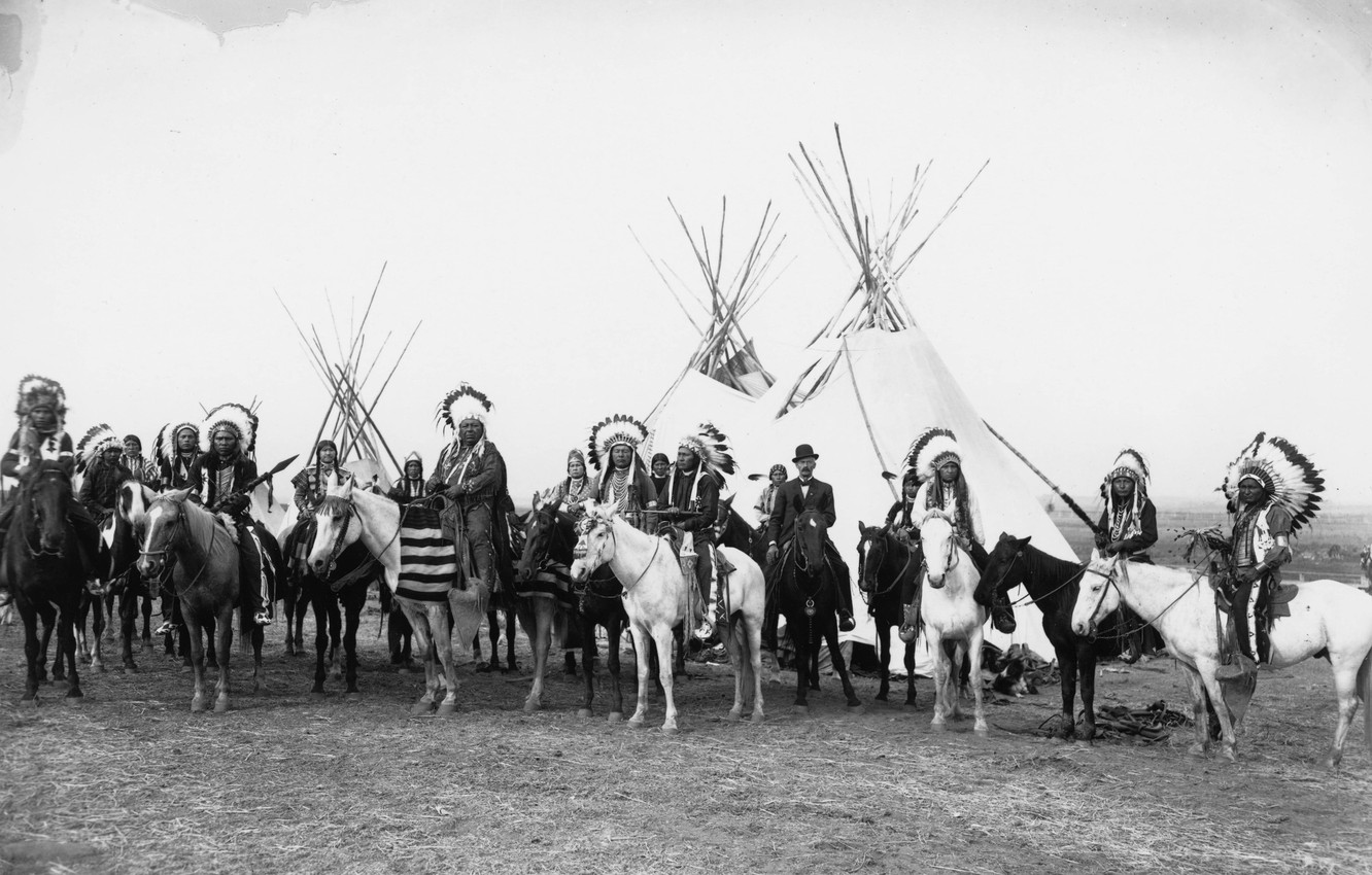 Photo wallpaper retro, photo, feathers, horse, black and white, The Indians, wigwam, vintage