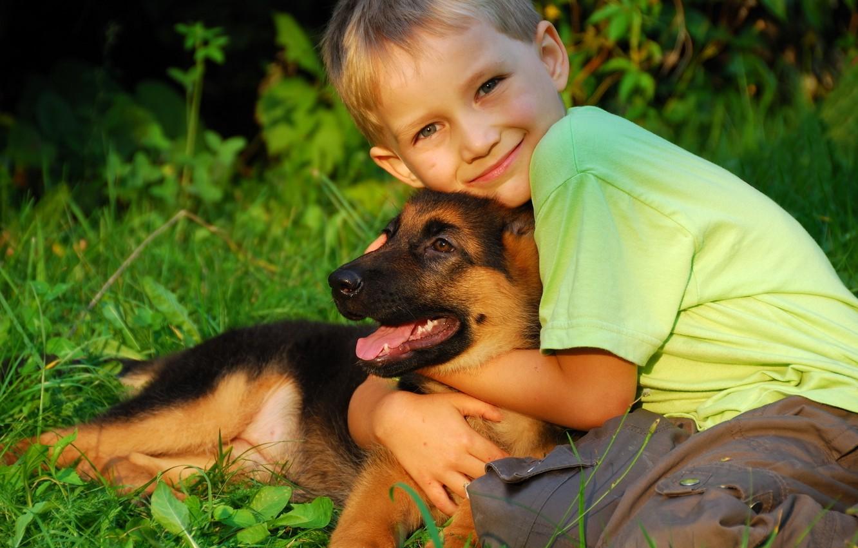 Photo wallpaper each, child, dog, boy, puppy, friends, hugs