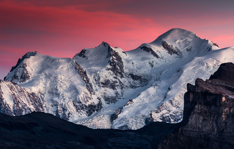 Photo wallpaper Pink, Clouds, Sky, Landscape, Mountain, Snow, Beauty, View, Mont Blanc, Samöens