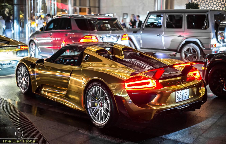 Photo wallpaper auto, Porsche, Spyder, 918, Golden