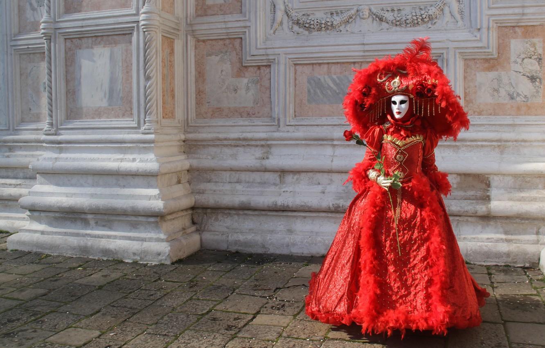 Photo wallpaper flower, girl, wall, red, rose, hat, mask, fancy dress