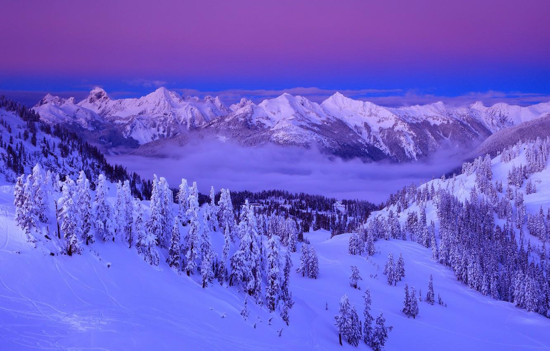 Photo wallpaper Clouds, Sky, Purple, Winter, Mountain, Snow, Landscape