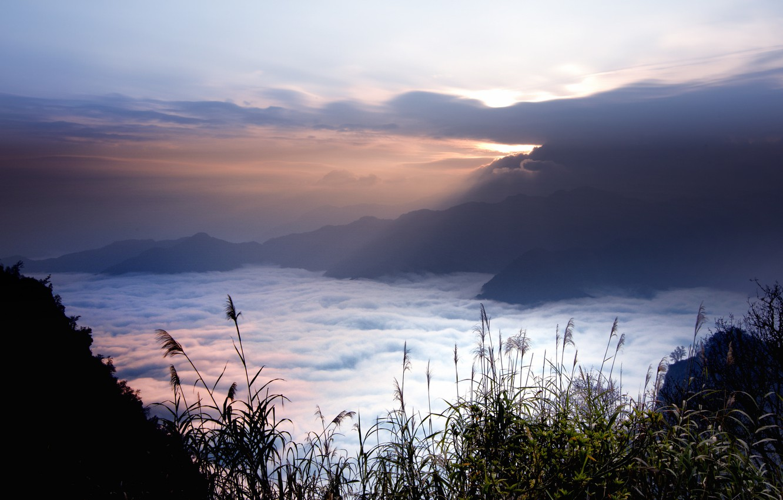 Photo wallpaper the sky, clouds, sunset, mountains, fog, height, the evening, Taiwan, haze, sunlight