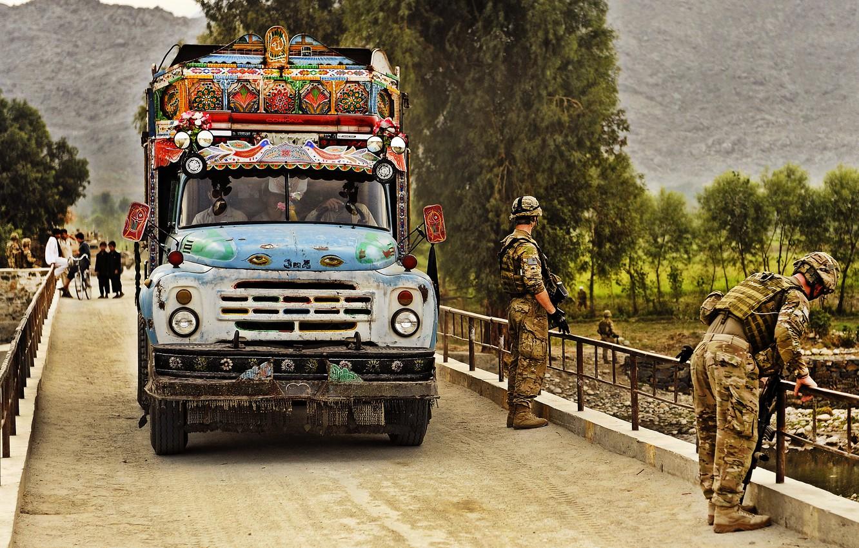 Photo wallpaper Bridge, Military, Afghanistan, ZIL