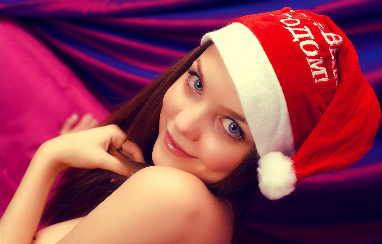 Photo wallpaper look, girl, smile, sweetheart, new year, cap, happy new year, amelie