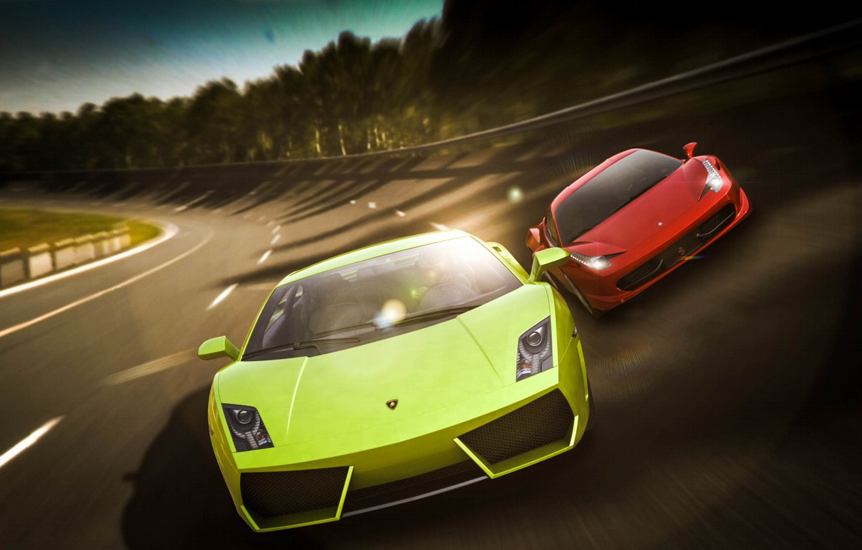 Photo wallpaper Lamborghini, Ferrari, Red, Gallardo, Cars, 458, Green, Speed, Italia
