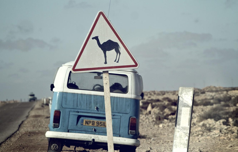 Photo wallpaper road, the sky, clouds, sign, desert, Volkswagen, camel, back, Volkswagen Transporter