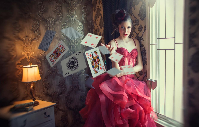 Photo wallpaper card, girl, throw