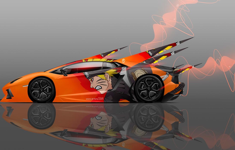 Photo wallpaper Auto, Lamborghini, Machine, Orange, Style, Wallpaper, Orange, Anime, Orange, Car, Art, Naruto, Naruto, Art, Anime, ...