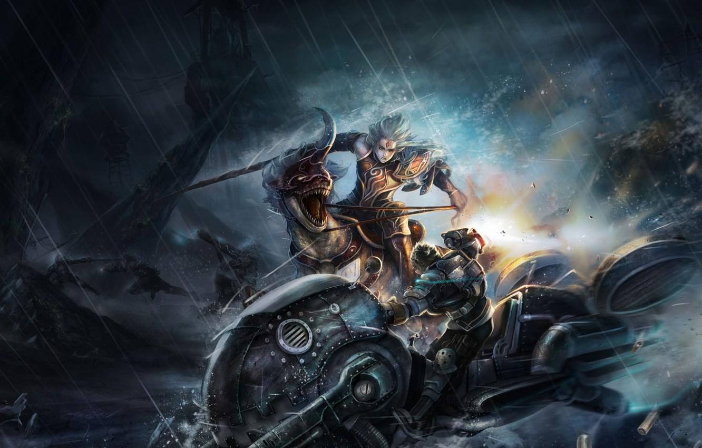 Photo wallpaper night, weapons, rain, rocks, transport, elf, art, lizard, beast, battle, guys, horn, ARGO