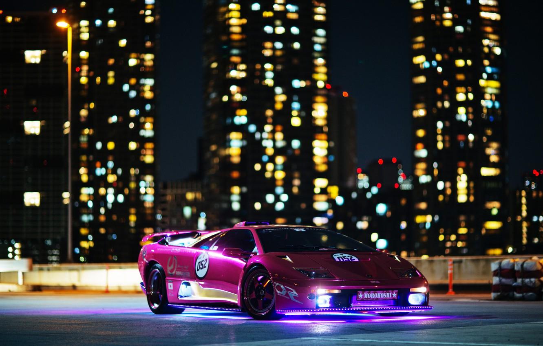 Photo wallpaper night, lights, building, Lamborghini, Diablo, Diablo, lamborghi