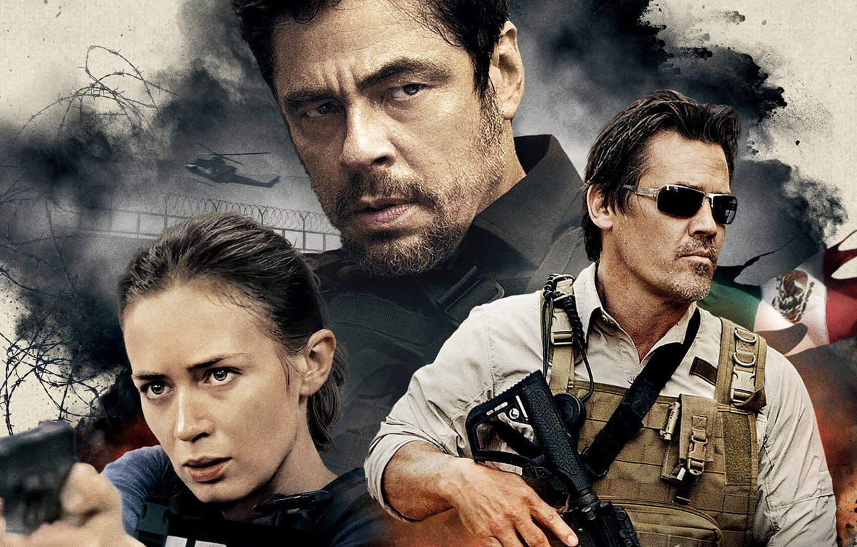 Photo wallpaper cinema, girl, gun, pistol, Mexico, weapon, woman, Glock, Emily Blunt, man, movie, helicopter, M4A1, flag, …